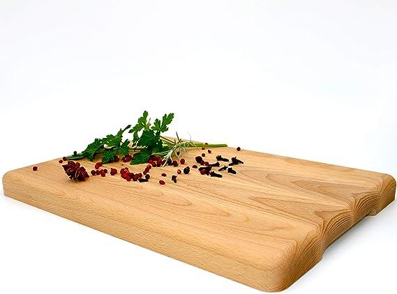 Ertisi Multifunktionales Küchenbrett aus Holz Schneidebrett, Servierbrett, Brotbrett, Käsebrett, Frühstücksbrett | 35 x 25 x 2,5 cm | 100%
