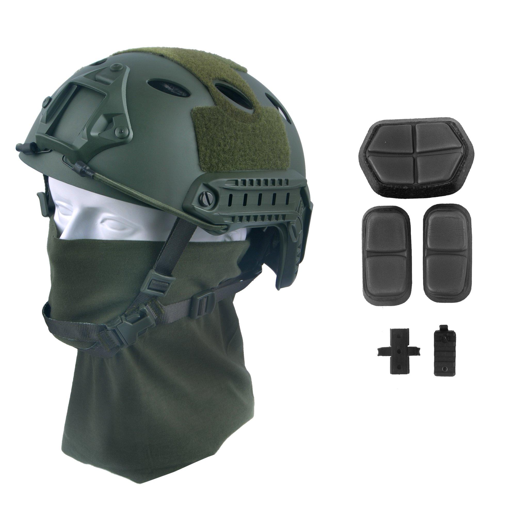 LOOGU Fast PJ Base Jump Military Helmet with 12-in-1 Headwear(GN) by LOOGU