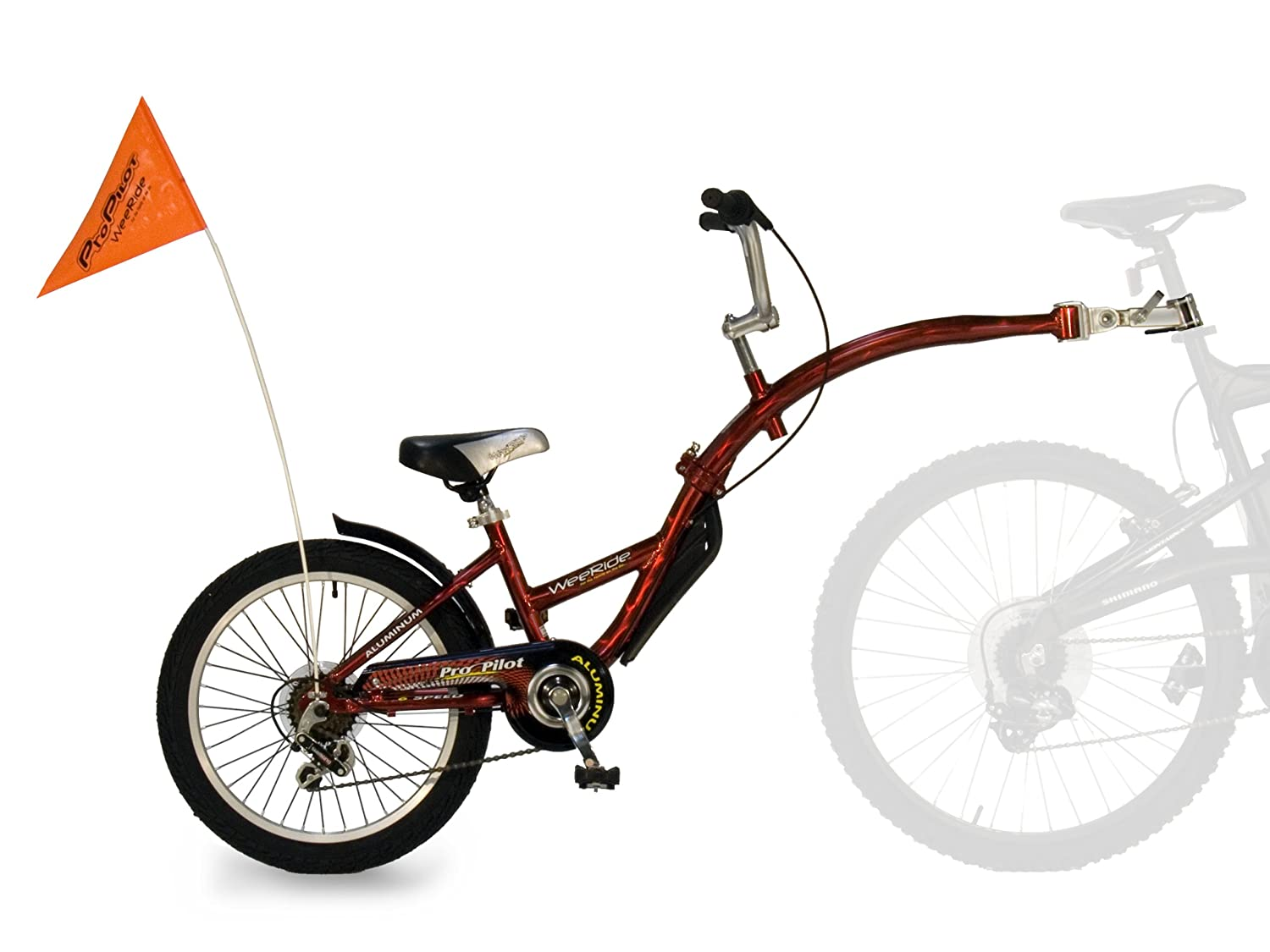 3cb35aeb26b WeeRide Pro Pilot Aluminium Tagalong 6 Speed Child Tag along bike - Red,  20-inch: Amazon.co.uk: Sports & Outdoors