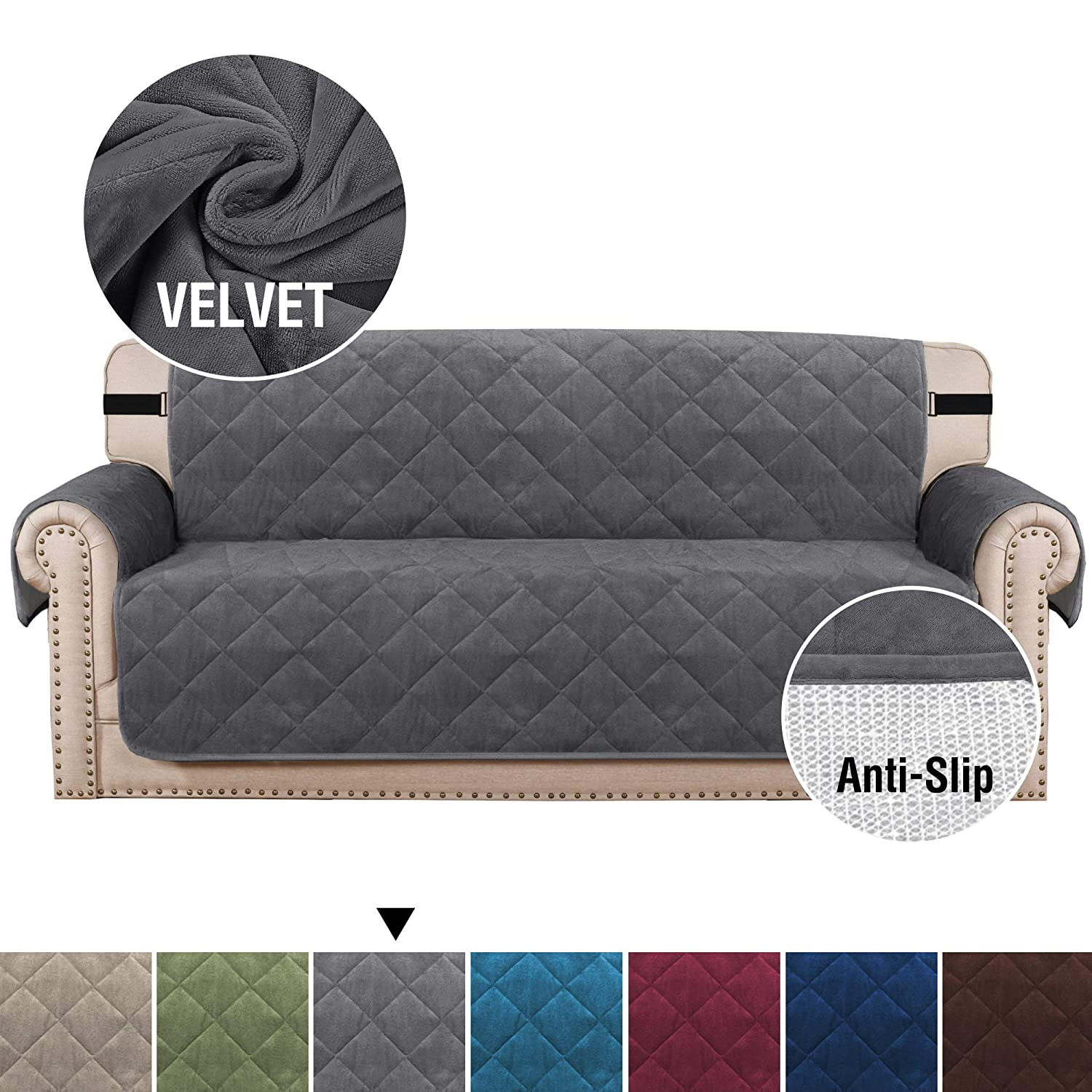 "H.VERSAILTEX Velvet Sofa Covers for 3 Cushion Couch Non-Slip Sofa Slipcover Protector with Side Pockets, Seat Width Up to 70"", 2pcs Straps Couch Cover for Kids, Dogs, Machine Washable (Sofa: Gray)"