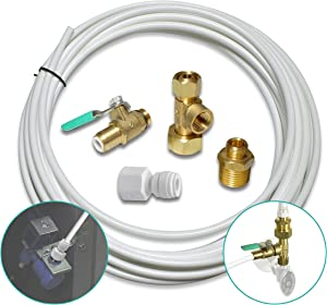 "Metpure Ice Maker Fridge Installation Kit – 25' Feet Tubing For Appliance Water Line With Stop Tee Connection and Valve For Quick Installation, 1/4"" Fittings For Potable Drinking Water"