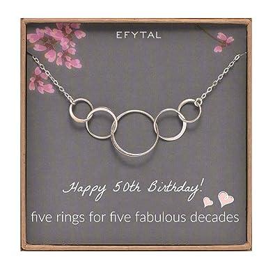 EFYTAL 50 regalos de cumpleaños collar de plata de cinco ...