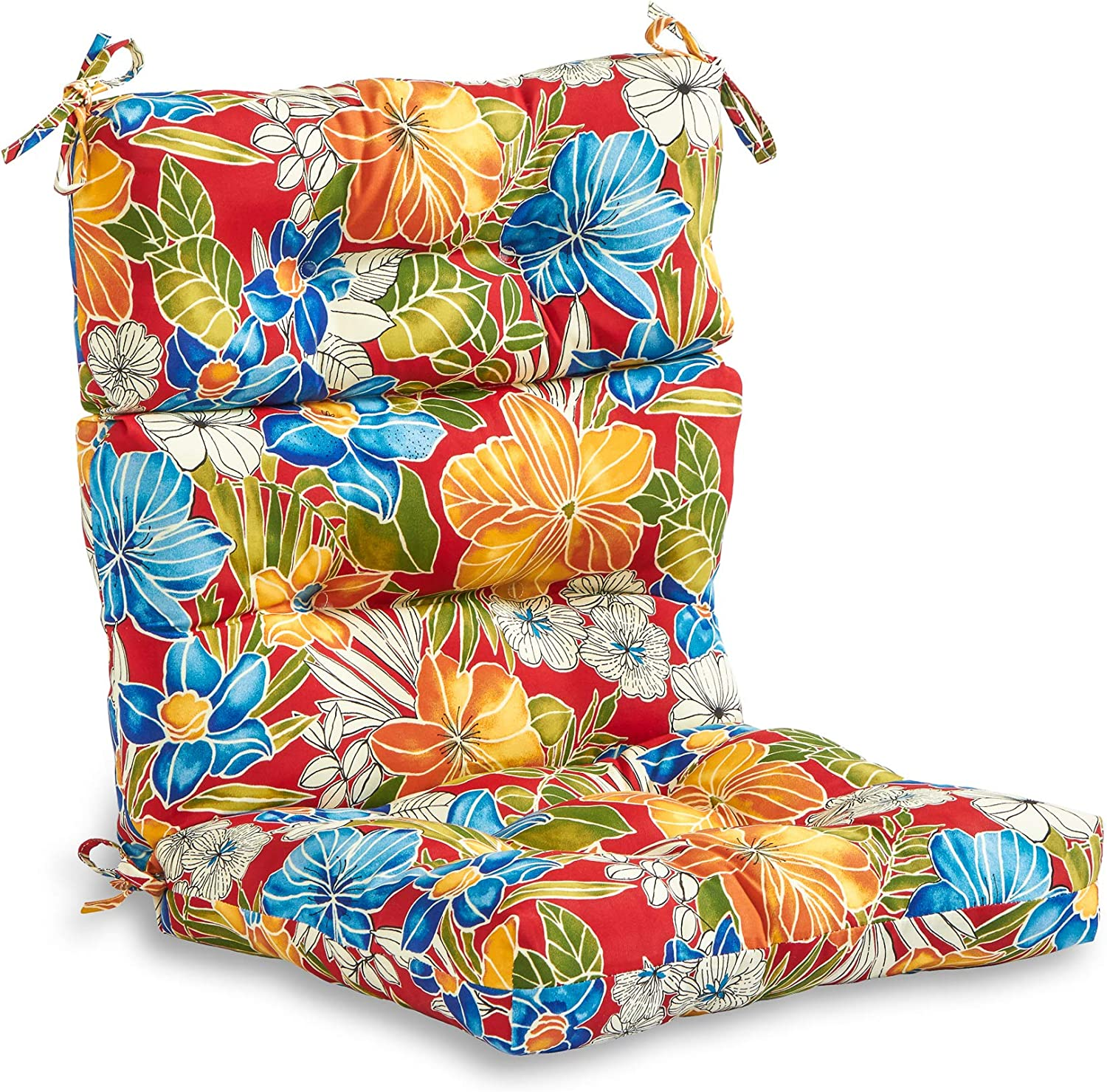 South Pine Porch AM4809-ALOHA-RED Aloha Red Floral Outdoor High Back Chair Cushion
