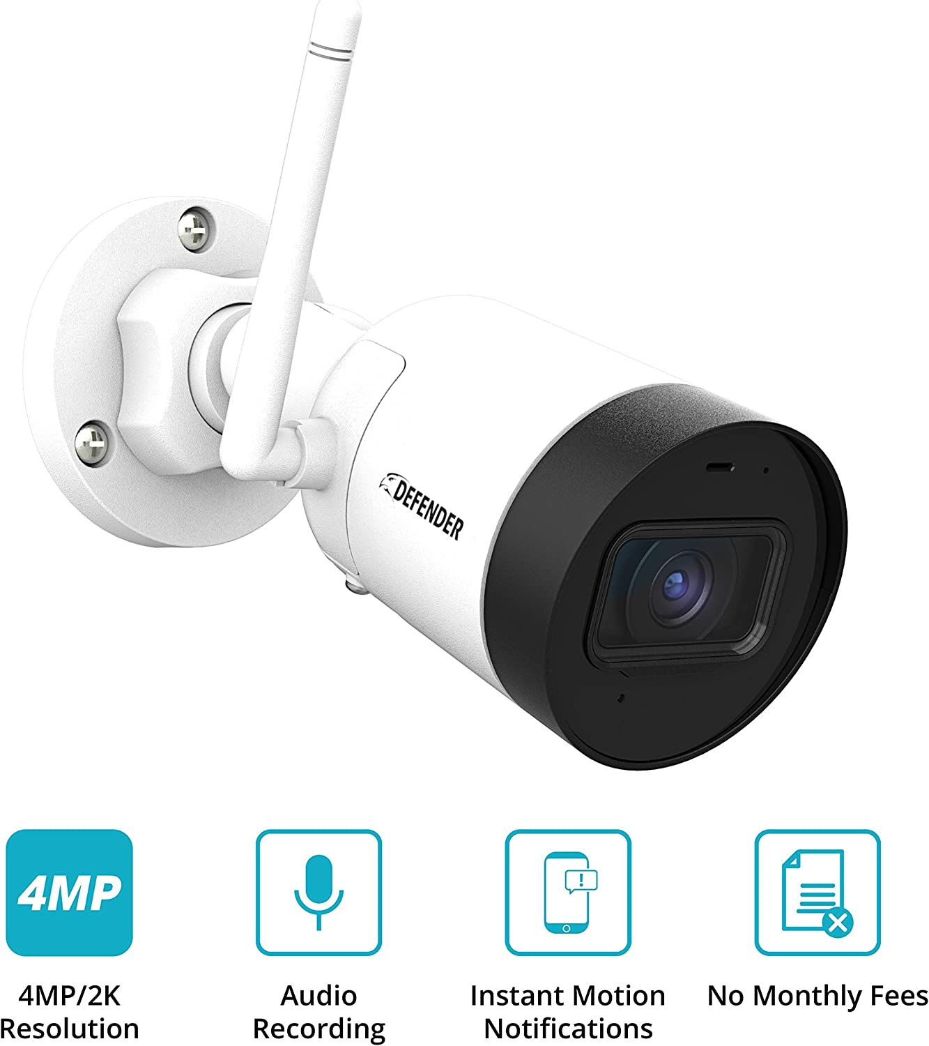 Defender Guard Wireless Outdoor/Indoor Security Camera with HD 2K Resolution, Mobile Viewing, Audio Recording, Motion Detection and No Monthly Fees