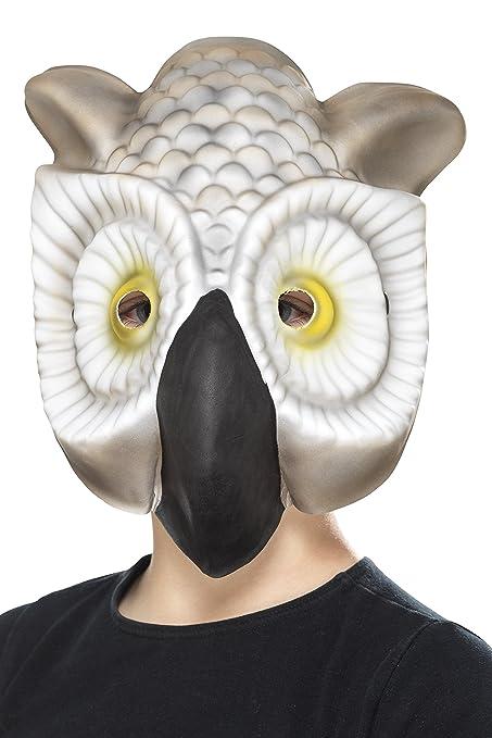 Smiffys Máscara de búho, Gris y Blanco, EVA