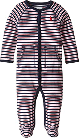 7ab99b197ac4 Amazon.com  Ralph Lauren Baby Boys Striped Cotton Footed Coverall ...