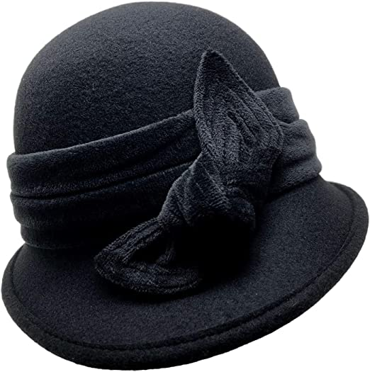 Fancet Womens Foldable Bell Hat Fedora Soft Wool Blend Bowler Hat