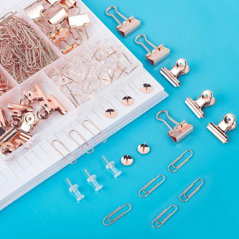 Hongyitime 350 PCS Rose Gold Bulldog Paper Clips,Drawing Clips Paper Clips,Thumb Tacks,Push Pins Sets with Box,Home Office Suppliers Binder Clips