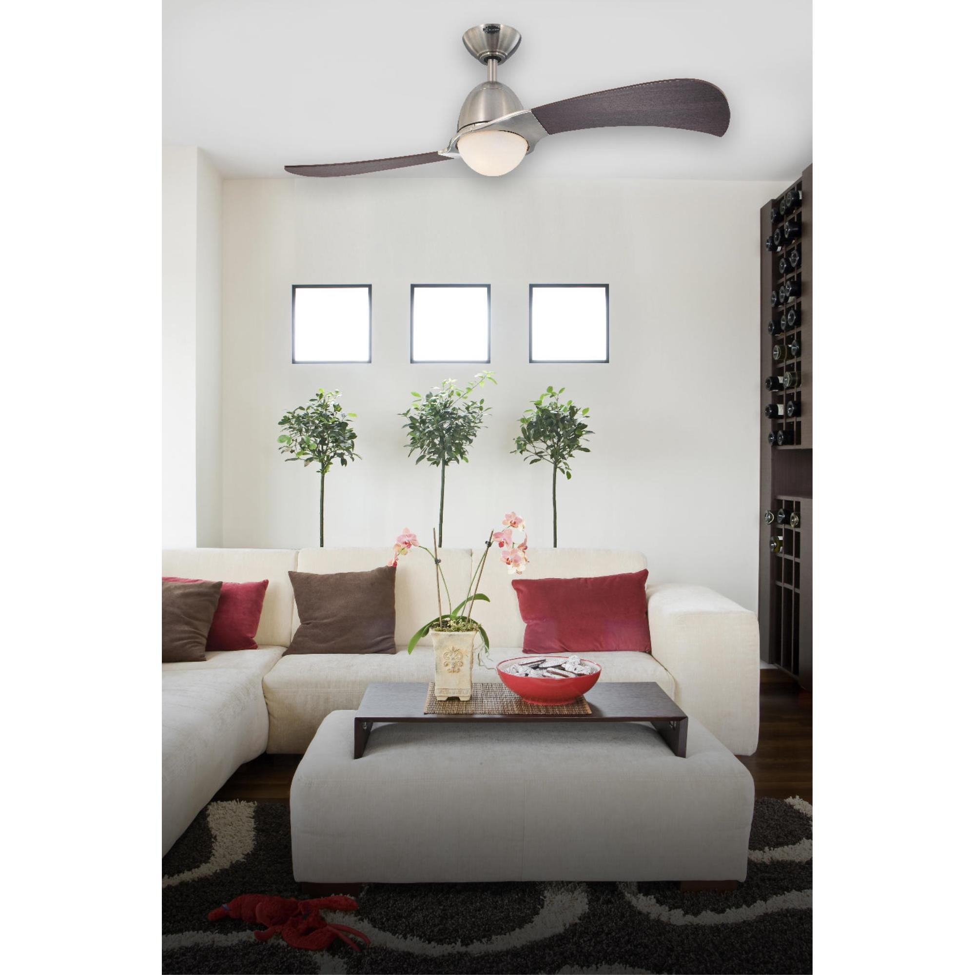 7216100 Solana 48-Inch Brushed Nickel Indoor Ceiling Fan, Light Kit with Opal Frosted Glass by Westinghouse (Image #3)
