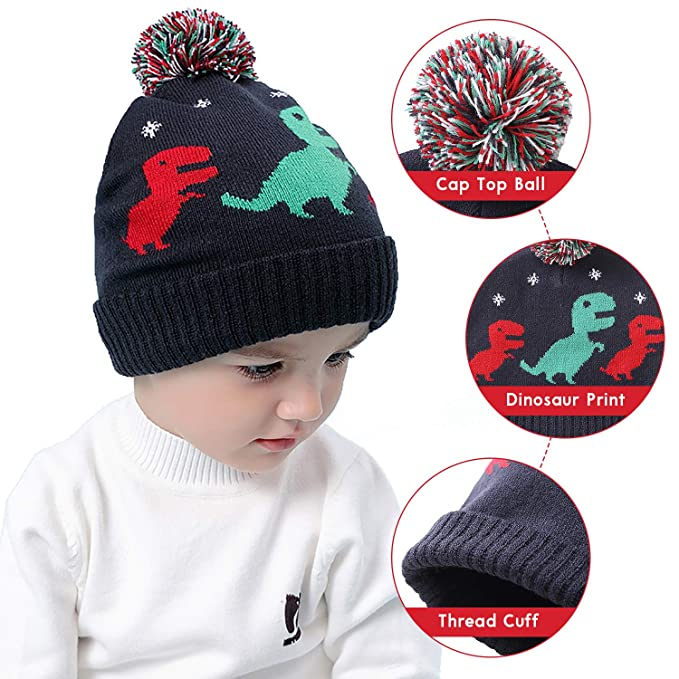 Amazon.com  RUHI Baby Hat Flexible Toddler Winter Hat Skin-Friendly  Material Dinosaur Beanie  Clothing 6aadc26b27c5