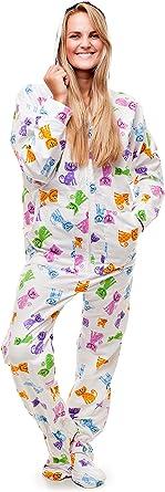 Kajamaz Pijama Entero con pies para Adultos Happy Cats Pijama Entero con pies para Adultos, de Franela