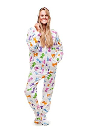 21024f82a3 Amazon.com  Happy Cats Kajamaz  Adult Footie Pajamas  Clothing