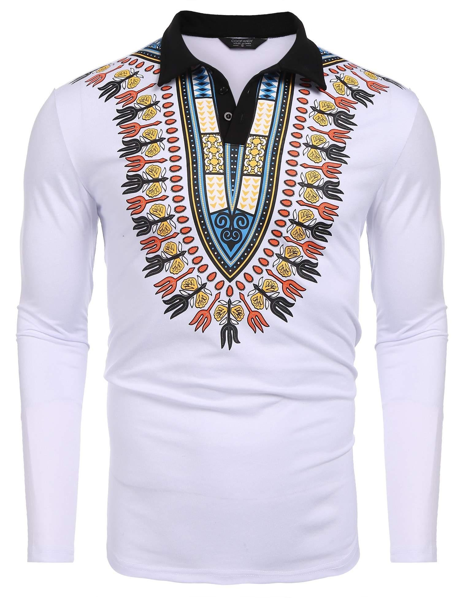 COOFANDY Mens African Print Shirt Bright Dashiki Slim Fit Long Sleeve Polo Shirt, White, XX-Large
