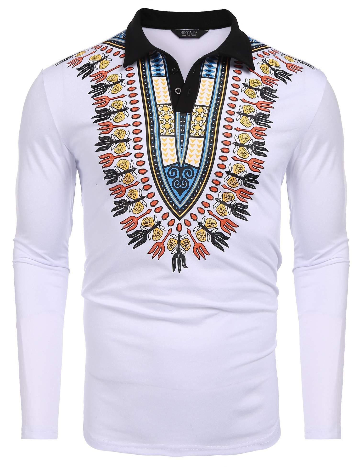 COOFANDY Mens African Print Shirt Bright Dashiki Slim Fit Long Sleeve Polo Shirt, White, XX-Large