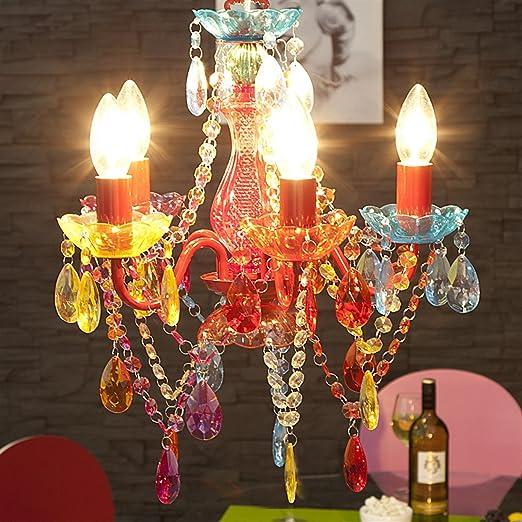 Kronleuchter Acryl Bunt Dekoration   Retro Designer Acryl Kronleuchter Pomp 5 Armig O 37cm Pendellampe