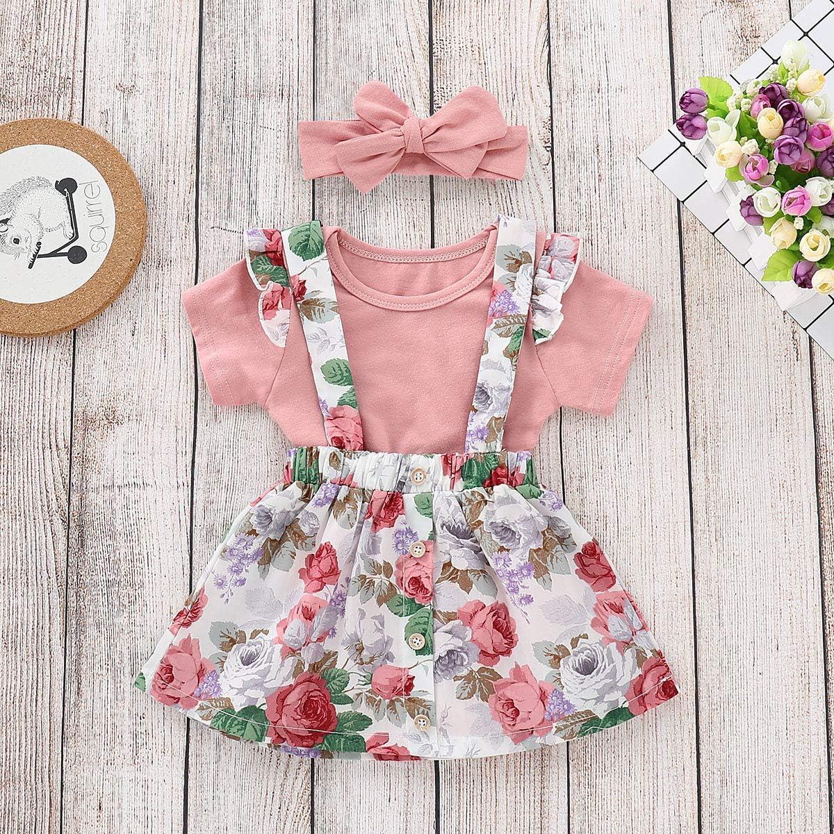 Newborn Toddler Girls Skirt Sets Short Sleeve Leaf Print Romper Bodysuit Floral Suspender Skirt with Headband Summer Clothes