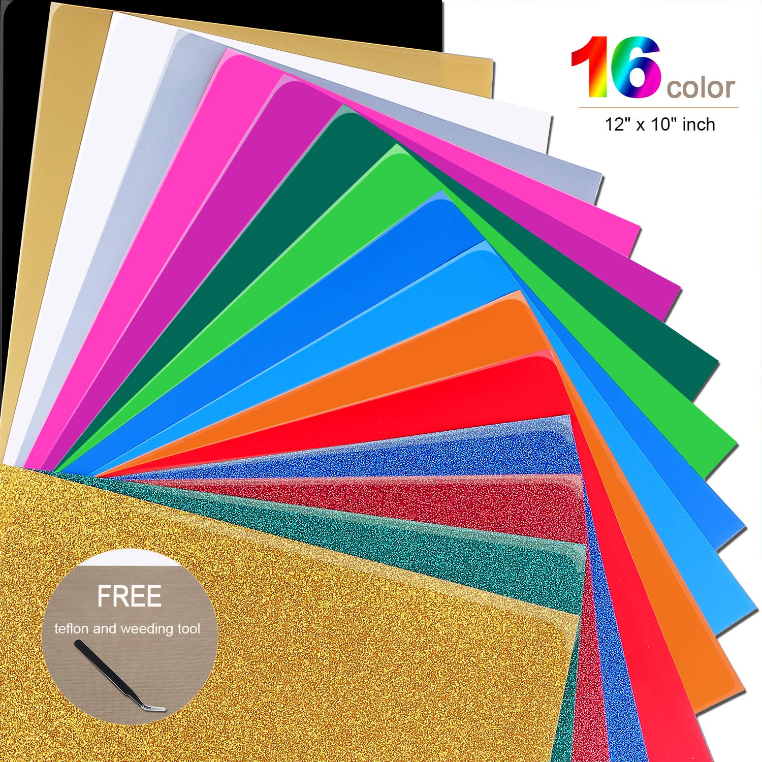 Mashup Glitter 12''x 10'' Sheets Heat Transfer Vinyl Bundle 16 Assorted Colors Works with Silhouette Cameo,Cricut or Heat Press Machine,Iron-On HTV for T-Shirts Hats-Teflon & Weeding Tool Included by BaBaaa