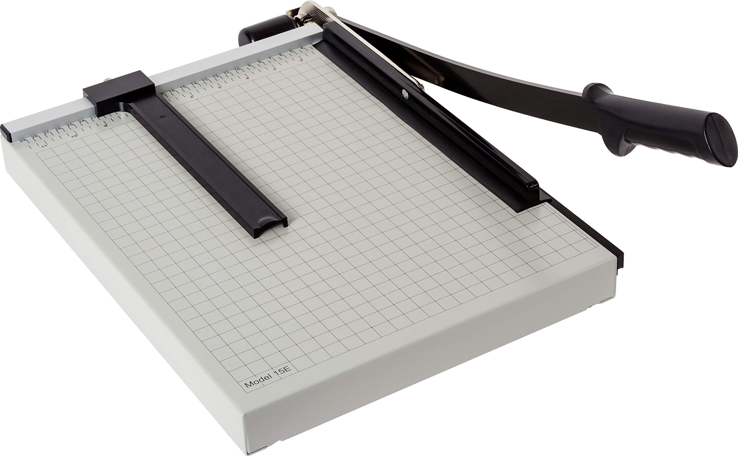 Dahle 15e Vantage Paper Trimmer, 15'' Cut Length, 15 Sheet, Automatic Clamp, Adjustable Guide, Metal Base with 1/2'' Gridlines, Guillotine Paper Cutter (Renewed) by Dahle
