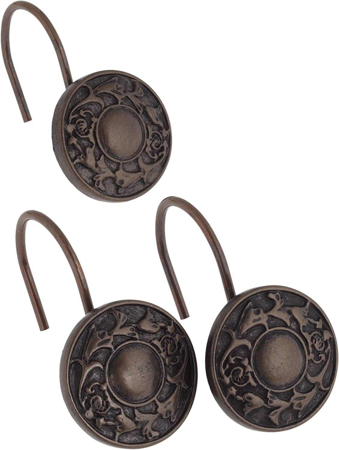 Carnation Home Fashions Regency Ceramic Resin Shower Curtain Hook, Oil Rubbed Bronze