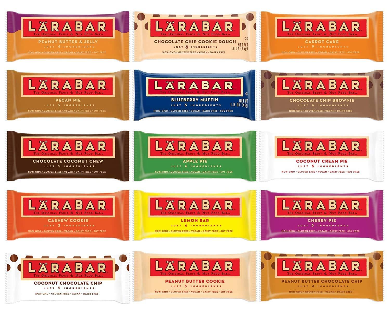 Larabar Gluten Free Snack Bars Variety Pack, Vegan, (16 Bars), 1.7oz In Sanisco Packaging.