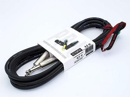 X-LEAD IC55PN045BK Serie PLATINUM, cable de instrumentos profesional de calidad para guitarra/bajo/teclados - conectores NEUTRIK originales - (4,5 m, ...