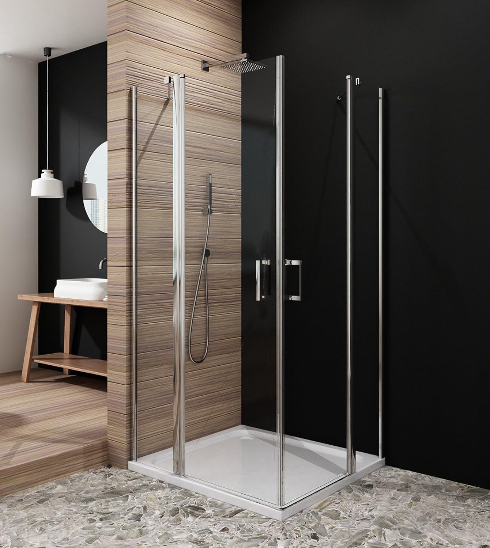 Cabina de ducha esquina. 80 * 80 cm drehtür Mampara de cristal de la ducha puerta de ducha, altura 190 cm, cristal transparente: Amazon.es: Bricolaje y herramientas