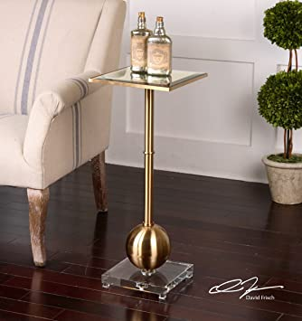Amazoncom Brushed Brass Accent Side Table Slim Gold Metal - Brushed brass side table