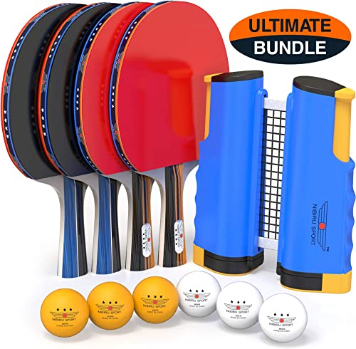 NIBIRU SPORT Professional Ping Pong Paddle Set with Retractable Net Bracket Clamps , Balls, and Posts 4-Star Regulation Table Tennis Accessories, Advanced Home Indoor or Outdoor Play, Storage Case