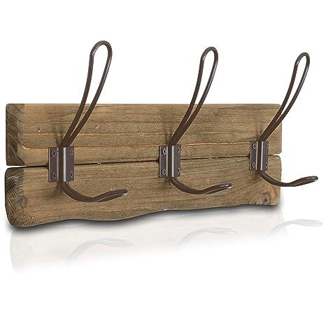 LULIND - Rustic Wall Mounted Coat Rack with 3 Brown Hooks (Real Cedar Wood)
