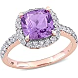 Abbie+Cleo Womens Cushion Cut Gemstone Halo Statement Ring in Flash Plated Sterling Silver