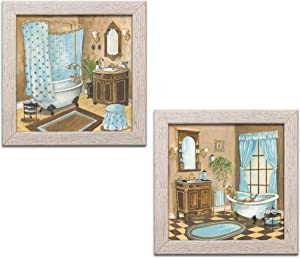 Gango Home Décor French Powder Blue Bathtub Sink and Mirror Set; Two 12x12in Distressed Framed Prints, Ready to Hang!
