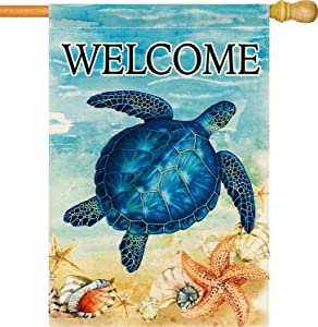 Dsweesun Summer Sea Turtle Welcome Garden Flag, Vertical Double Sided Burlap Beachy Starfish Shell Farmhouse Outside Decorative Flag, Spring Summer Porch Law Yard Outdoor Decor, 12.5 x 18 Inch