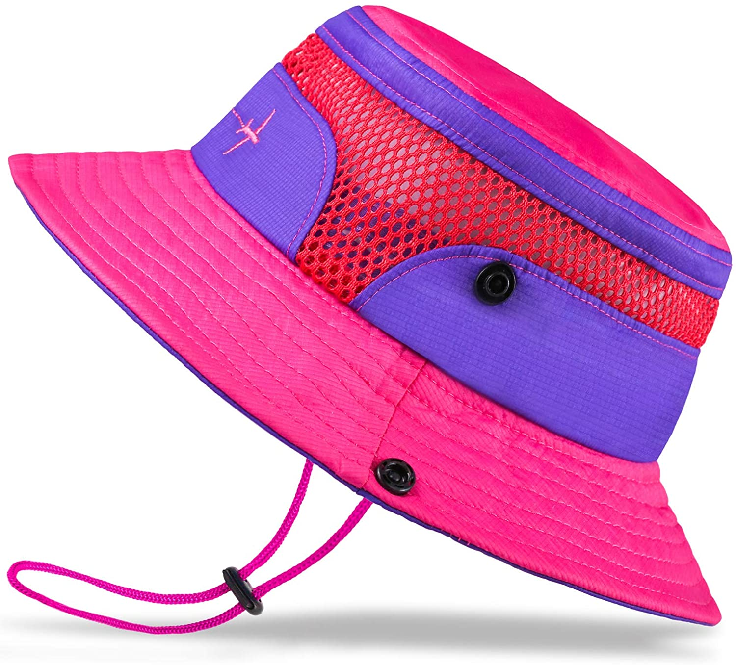 Adjustable Summer Play Baby Sun Hat Toddler Sun Hat Kids Breathable Bucket Sun Protection Hat Stay-on Chin-Strap