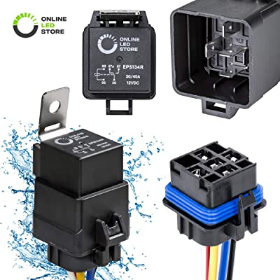 ONLINE LED STORE 1 Pack 5-Pin 12V Bosch Style Waterproof Relay Kit [Harness Socket] [12 AWG Hot Wires] [SPDT] [30/40 Amp] 12 Volt Automotive Marine Relays for Boats Auto Fan Cars: Automotive