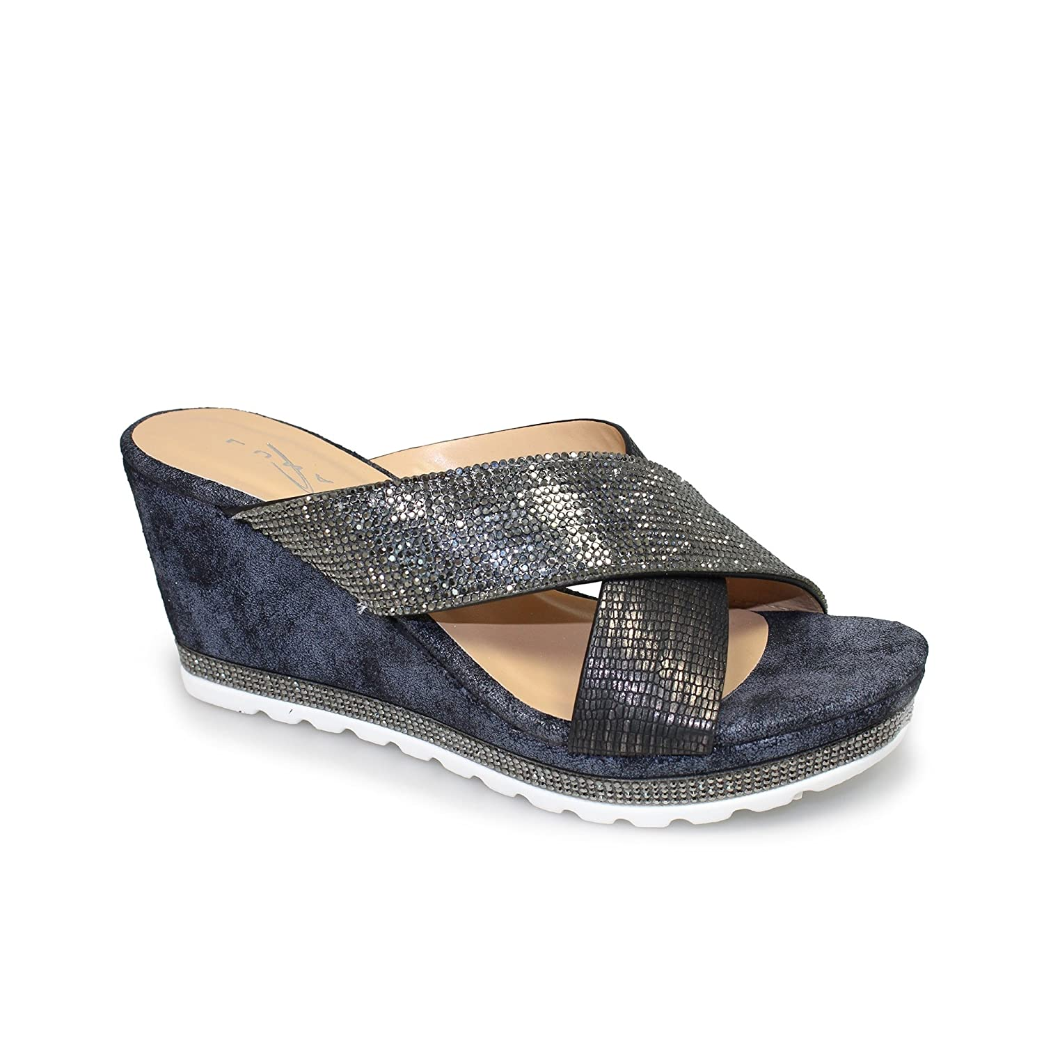 Black Gold Silver  Size 3 4 5 6 7 8 LADIES MULE Wedge Crossover Padded Sandals