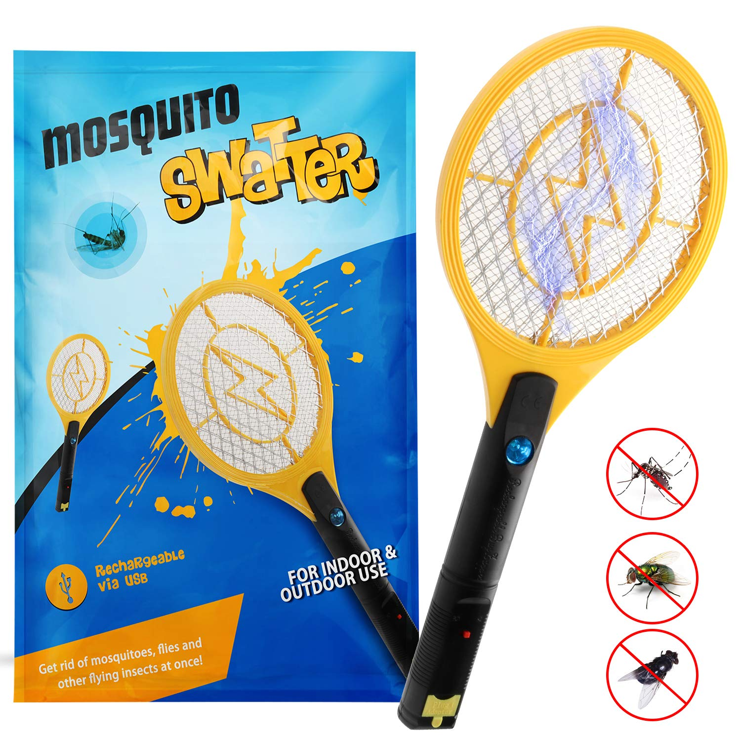 Kekilo Bug Zapper, USB Rechargeable Electric Mosquito, Fly Killer, Bug Zapper Racket and Mosquito Swatter for Indoor and Outdoor Camping Pest Control, 3-Layer Safety Mesh That's Safe to Touch (USB Rechargeable) product image