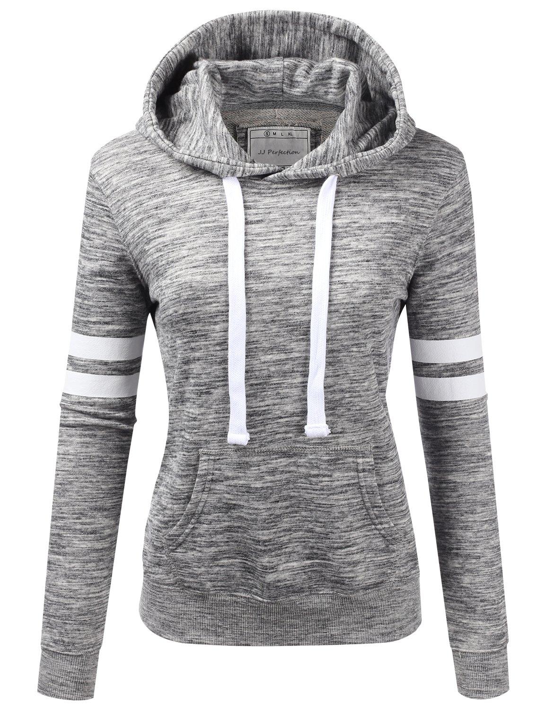 NINEXIS Womens Long Sleeve Terry Hoodie Double Arm Line Pullover Sweatshirts MARLEDCHARCOAL S
