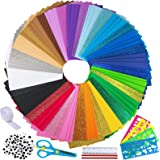 """85 Sheets Bright Craft Foam Sheets Glitter Craft Foam Sheets 17 Assorted Rainbow Colors 9x6"""" 2mm Thick with Scissor…"""