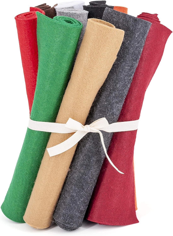 Kit Feltro Colorato 10 Grandi Fogli in Rotoli da 45x33cm Tinta Unita per Creazioni Fai da Te Patchwork Panno Confezionato in Italia