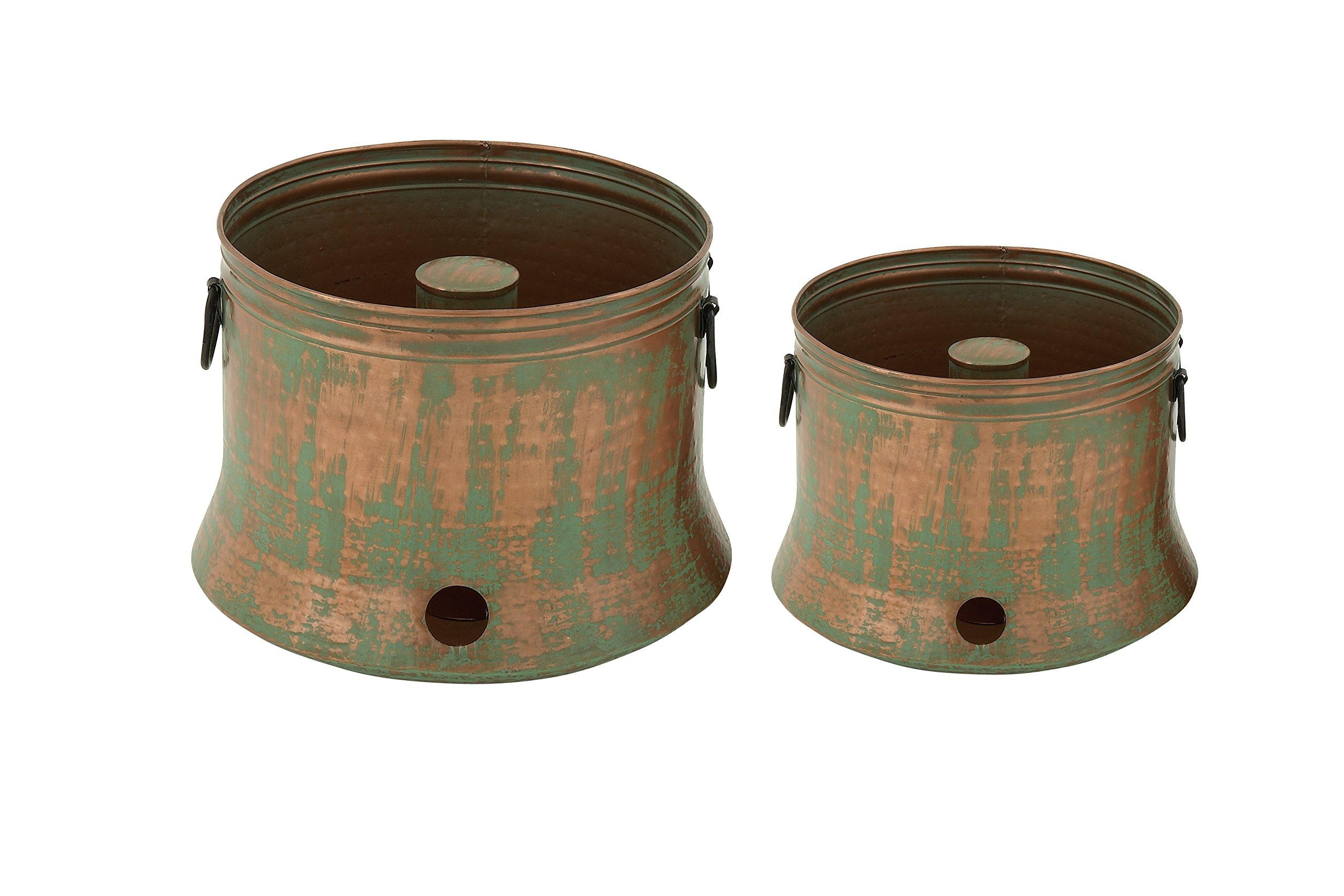 Deco 79 Metal Rustic Iron Hose Holder (Set of 2), 15''/20''H
