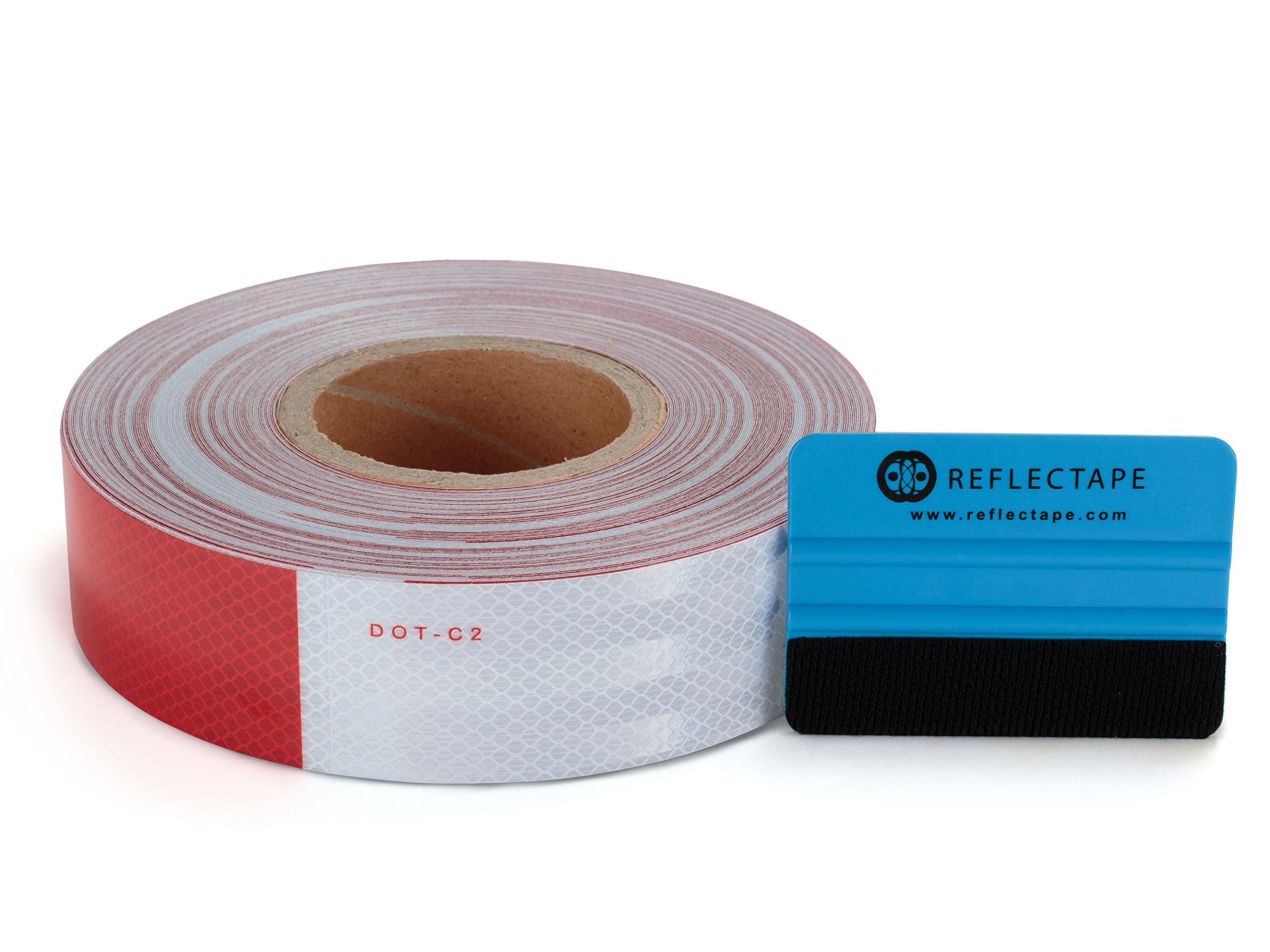 DOT Reflective Tape - 2 inches x 150 feet long - 11 inch Red/7 inch White Safety Strips for Trailer Vehicle Car Truck w/Bonus Applicator by Reflectape