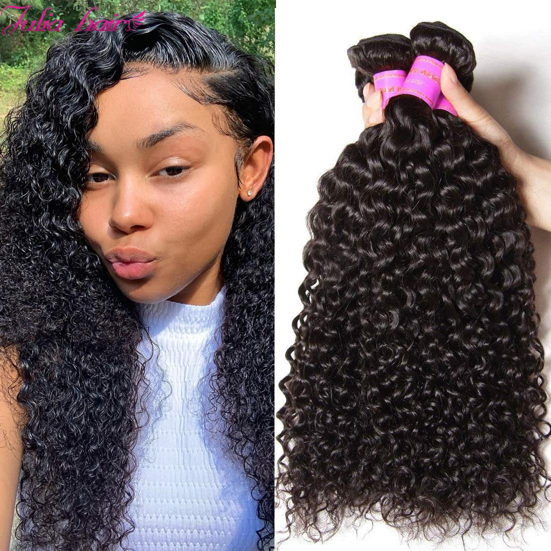 Amazon Com Ali Julia 10a Indian Virgin Curly Hair Weave 3 Bundles 12 10 8 Inch 100 Unprocessed Remy Human Hair Extensions 95 100g Pc Natural Black Color Beauty