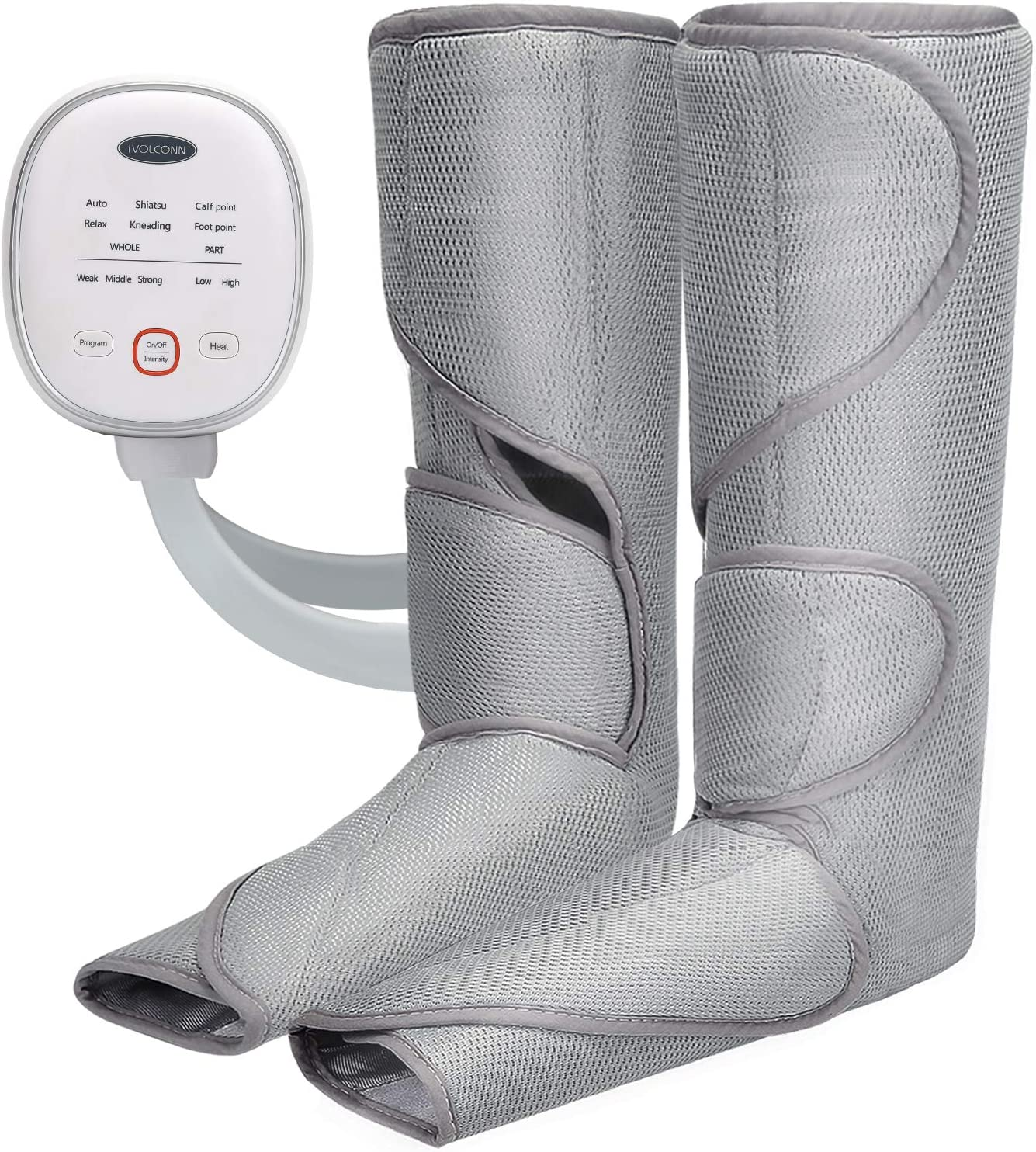 iVOLCONN Leg Massager with Heat for Circulation and Relaxation Foot Massager Air Compression Leg Wraps with Handheld Controller 3 Intensities and 6 Modes
