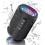 Ortizan Portable Bluetooth Speaker, IPX6 Waterproof Speakers with Lights Rich Stereo Bass, Bluetooth 5.0, 15 Hours Playtime,