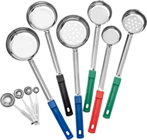 Stainless Steel Portion Control Serving Spoon Set with Teaspoons (10 Piece set). 4 Solid Ladles, 2 Slotted (1/4, 1/2, 3/4 , 1 cup) and 4 teaspoons - bilbyfox