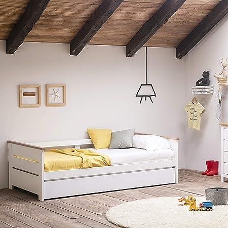 VS Venta-stock Cama Nido Juvenil Sena 90X190, Color Blanco, Dimensiones: 199cm (Largo), 105cm (Ancho) y 62cm (Alto)