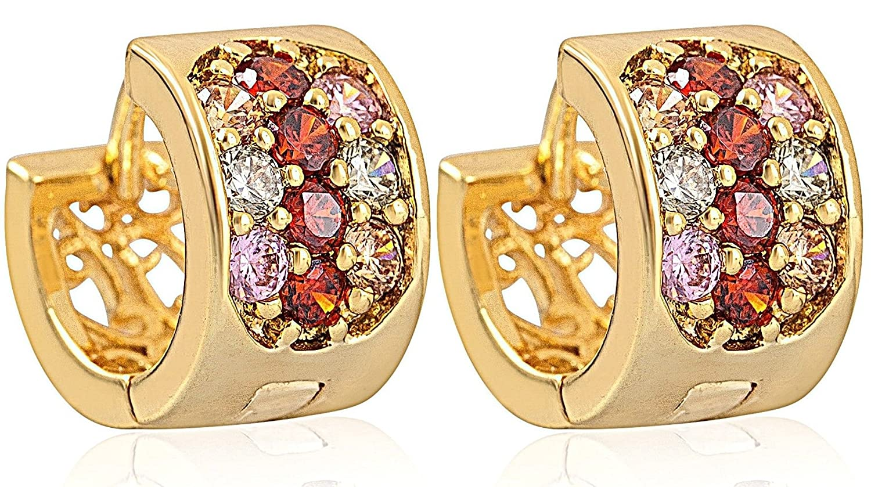 Vonchic 2 Pairs Gold Plated Cubic Zirconia Hoop Huggies Earrings Men Women Gift Set