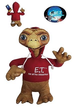 ET Peluche ET el Extraterrestre Serigrafiado 30cm con Sudadera roja con Capucha. Calidad Super Soft