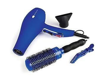 Corioliss Flow Blue Pack - Secador profesional + cepillo redondo con mango de goma + 4 pinzas clips con bisagras dobles, color azul: Amazon.es: Salud y ...
