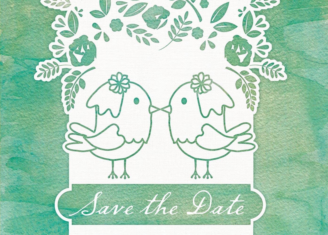Save-the-Date Save-the-Date Save-the-Date Vogelpaar - Frauen, 80 Karten, MattGrün B07B6MJNPW | Großhandel  | Erste in seiner Klasse  | Toy Story  5b1cc9